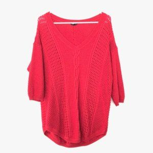 Torrid Size 1 Cable Knit 3/4 Sleeve V Neck Sweater
